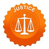 justice sur bouton web denté orange