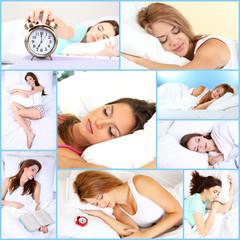 Collage of sleeping women