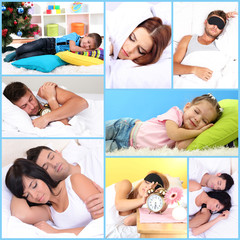 Collage of sleeping people