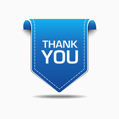 Thank You Blue Label Icon Vector Design
