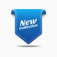 New Collection Blue Label Icon Vector Design