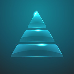 Vector glass pyramid icon.