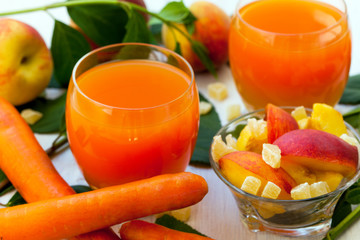 Healthy peach and carrot smoothie