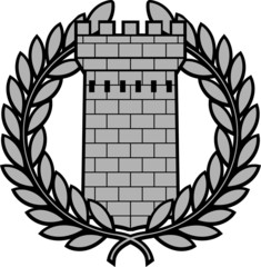 ancient tower with laurel wreath. second variant
