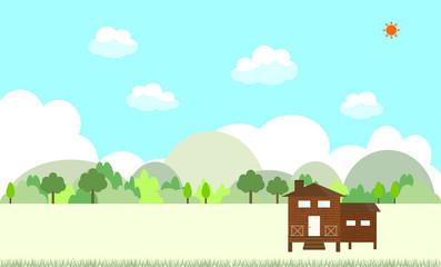 山小屋と風景