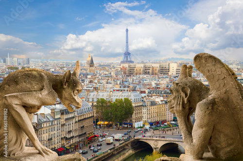 Leinwanddruck Bild Gargoyle on Notre Dame Cathedral, France