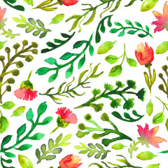 Watercolor seamless pattern with green leaf and red flowers