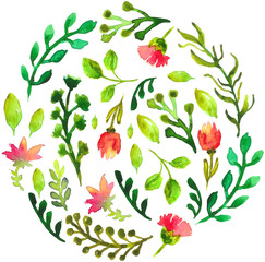 Natural floral circle background with green leaves and red flowe