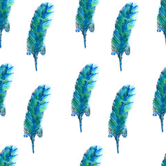 Watercolor seamless pattern with feather