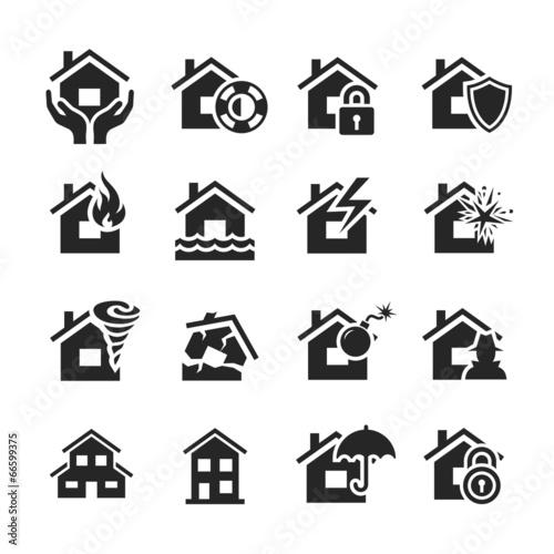 Leinwandbild Motiv Property insurance icons