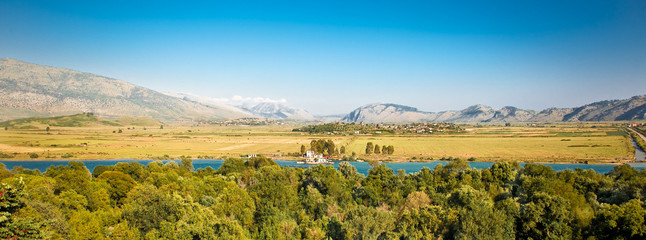 Panoramic view on Butrint in National Park of Butrin, Albania.