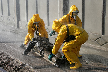 Man in chemical protection suit