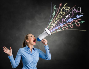 Angry woman screaming into megaphone