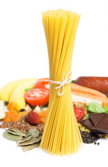 Spaghetti and healthy food on white background