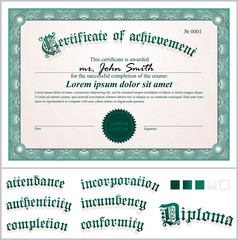 Vector illustration of green certificate. Template. Horizontal.