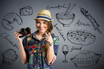 food photographer - Nice female tourist with draw different type