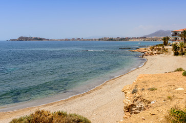 View From Playa De Mojon towards Mazarron Town Murcia Spain