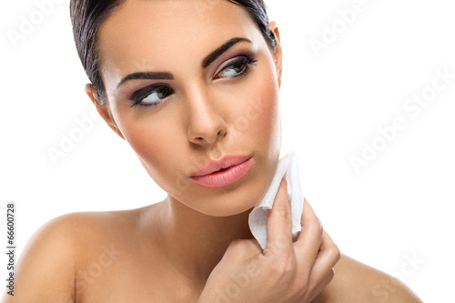 woman cleaning skin