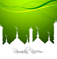 Mosque with bright colorful Ramadan Kareem on green background v