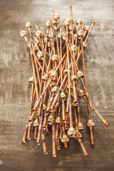 Ends Of Copper Tubes For Plumbing With Various Fittings