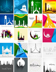 Mosque with colorful Ramadan Kareem collection card set presenta