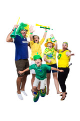 Brazilian fans watching soccer game