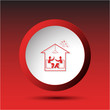 Home celebration. Plastic button. Vector illustration.