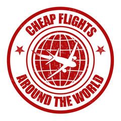 Cheap flight around the world stamp