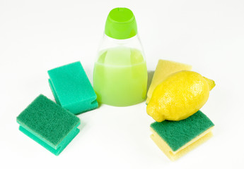 Lemon fruit and cleaning products