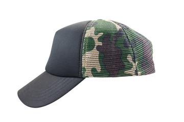 Camouflage cap isolated on white background