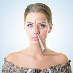 portrait of beautiful woman with problem and clean skin, aging a