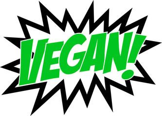 Go Vegan, Comic Book Style, Sprechblase