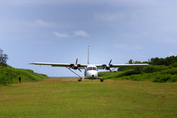Plane takes off from Mystery Island, Vanuatu