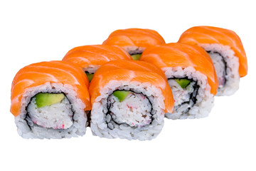 California sushi roll isolated on white background