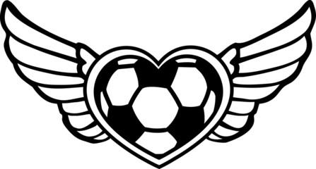Fußball Herz mit Flügeln