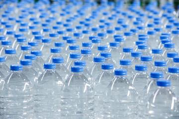 Plastic bottles on conveyor belt