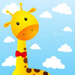 Funny giraffe on sky background