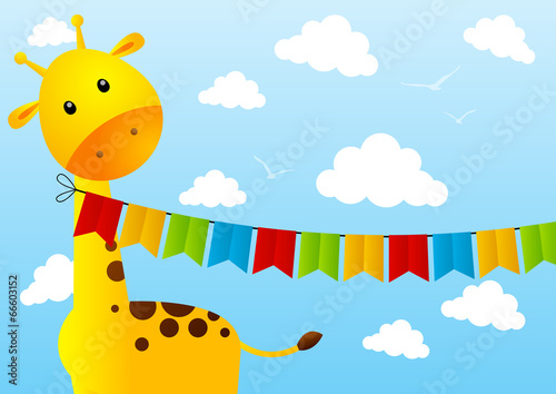 Funny giraffe with party flags