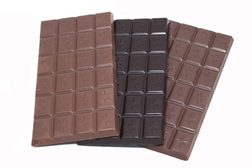 bars of dark and milk chocolate and chocolate with hazelnuts