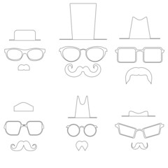 Drawings glasses mustache and hats. Pic