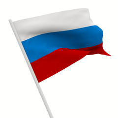 russian waves flag on white background. Isolated 3D image