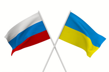 flags Russia and Ukraine. Isolated 3D image