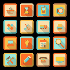 flat style colorful icons on black background