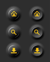 black buttons download, home and search