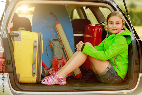 Summer holiday - girl ready for the travel