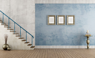 Blue vintage room with staircase