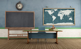 Retro classroom without student