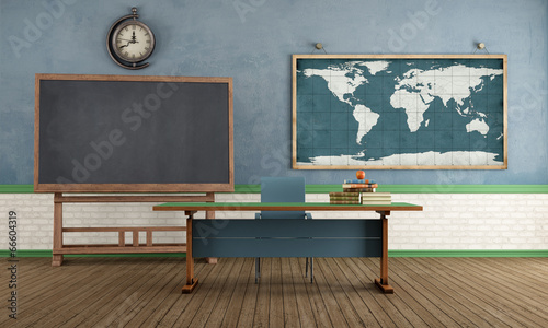 Foto op Canvas Retro Retro classroom without student