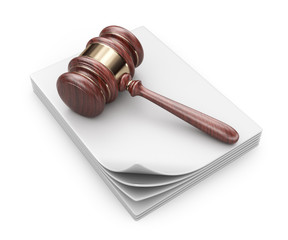 LAW hammer on documents. Legal concept;  3D Icon isolated