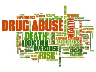 Drug addiction - word cloud illustration